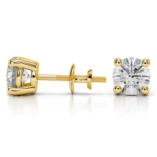 Round Diamond Stud Earrings in Yellow Gold (3 ctw) | Image 03