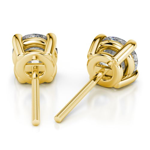 Round Diamond Stud Earrings in Yellow Gold (4 ctw) | Image 02
