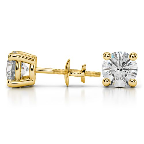 Round Diamond Stud Earrings in Yellow Gold (4 ctw) | Image 03