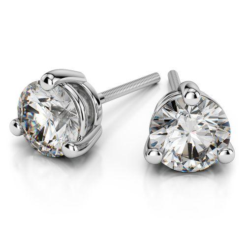 Three Prong Diamond Stud Earrings in Platinum (1/2 ctw)   Image 01