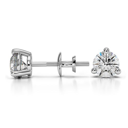 Three Prong Diamond Stud Earrings in Platinum (3/4 ctw) | Image 03