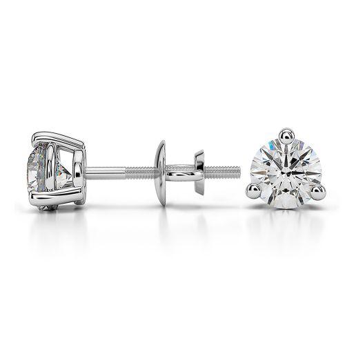 Three Prong Diamond Stud Earrings in Platinum (3/4 ctw) | Image 03