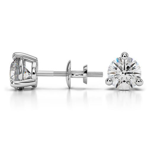 Three Prong Diamond Stud Earrings in White Gold (1 1/2 ctw) | Image 03