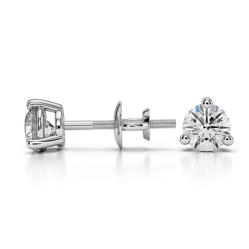 Three Prong Diamond Stud Earrings in White Gold (1/2 ctw) | Image 03