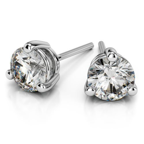 Three Prong Diamond Stud Earrings in White Gold (1 ctw) | Image 01