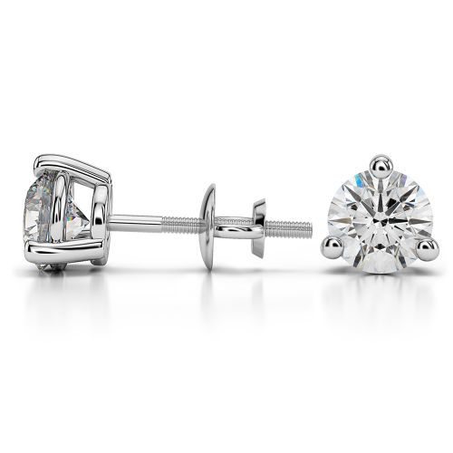 Three Prong Diamond Stud Earrings in White Gold (2 ctw) | Image 03