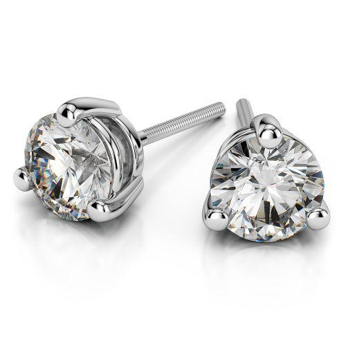 Three Prong Diamond Stud Earrings in White Gold (3 ctw) | Image 01