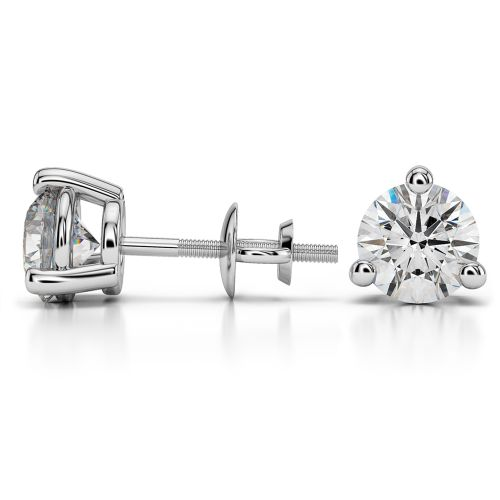 Three Prong Diamond Stud Earrings in White Gold (3 ctw) | Image 03