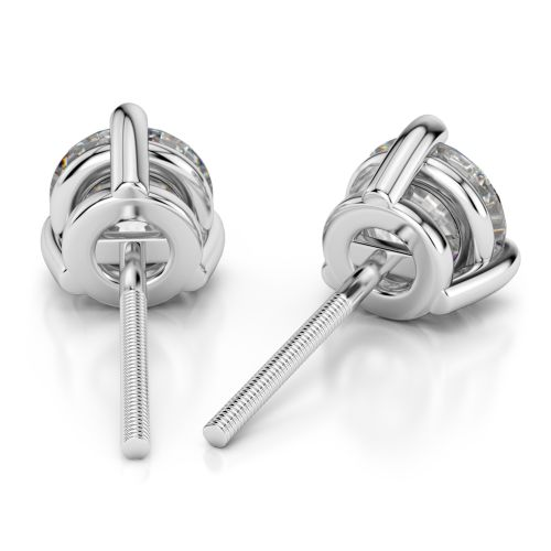 Three Prong Diamond Stud Earrings in White Gold (4 ctw)   Image 02