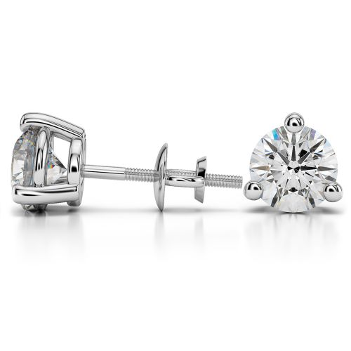 Three Prong Diamond Stud Earrings in White Gold (4 ctw)   Image 03