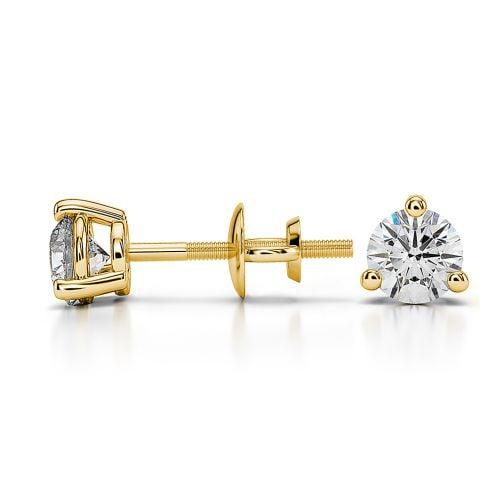 Three Prong Diamond Stud Earrings in Yellow Gold (1/2 ctw) | Image 03