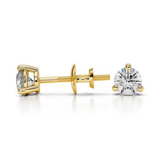 Three Prong Diamond Stud Earrings in Yellow Gold (1/3 ctw) | Image 03