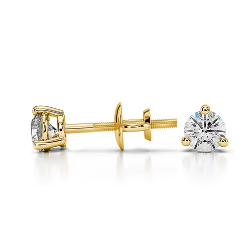 Three Prong Diamond Stud Earrings in Yellow Gold (1/4 ctw) | Image 03