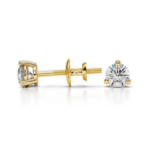 Three Prong Diamond Stud Earrings in Yellow Gold (1/4 ctw)   Image 03