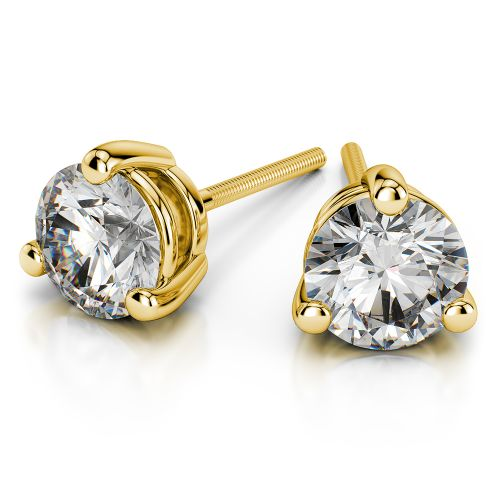 Three Prong Diamond Stud Earrings in Yellow Gold (1 ctw) | Image 01