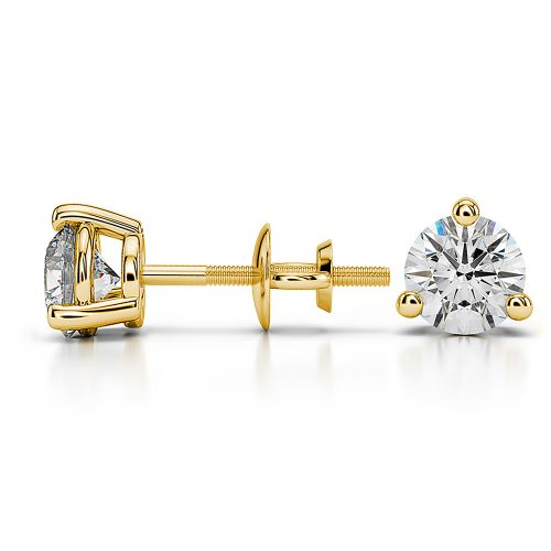 Three Prong Diamond Stud Earrings in Yellow Gold (1 ctw) | Image 03