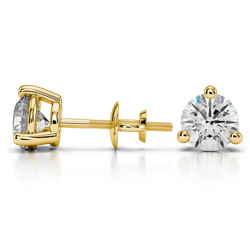 Three Prong Diamond Stud Earrings in Yellow Gold (2 ctw) | Image 03