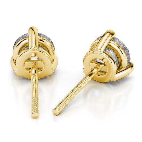 Three Prong Diamond Stud Earrings in Yellow Gold (3/4 ctw) | Image 02
