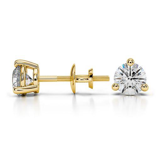 Three Prong Diamond Stud Earrings in Yellow Gold (3/4 ctw) | Image 03