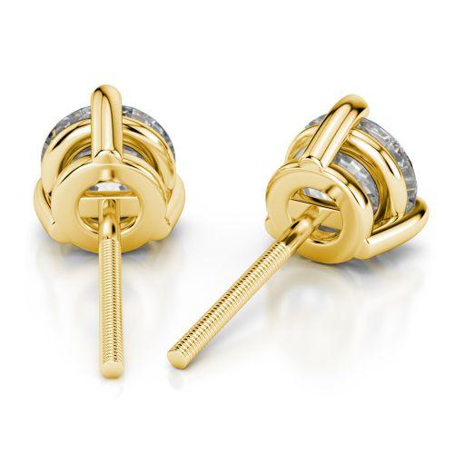 Three Prong Diamond Stud Earrings in Yellow Gold (4 ctw) | Image 02