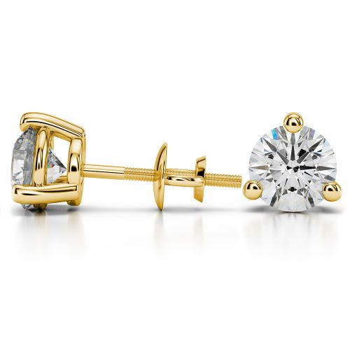 Three Prong Diamond Stud Earrings in Yellow Gold (4 ctw) | Image 03