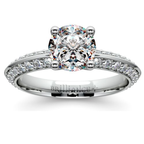 knife edge engagement ring in white gold 1 2 ctw