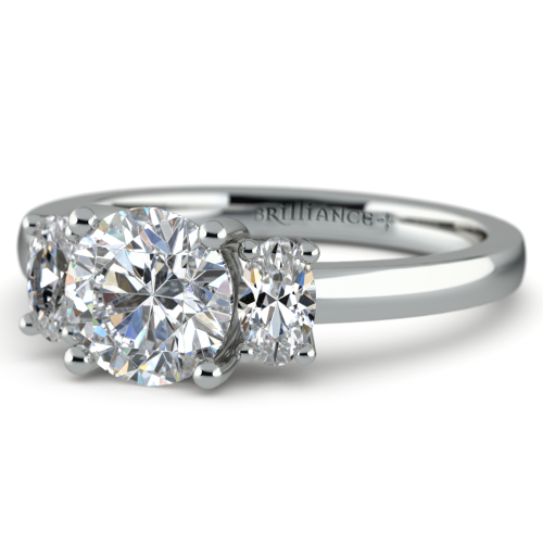 Oval Diamond Engagement Ring in White Gold 1 2 ctw