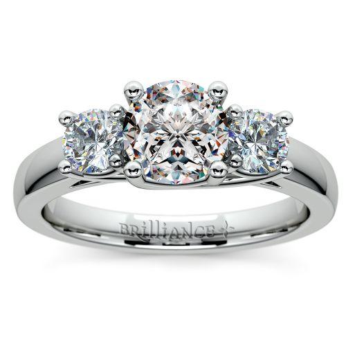 Trellis Three Diamond Engagement Ring in Platinum (1/2 ctw) | Image 01