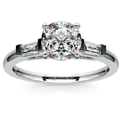 Baguette Diamond Engagement Ring in Platinum (1/3 ctw) | Image 01