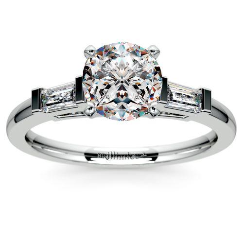 Baguette Diamond Engagement Ring in Platinum (1/3 ctw) | Image 01