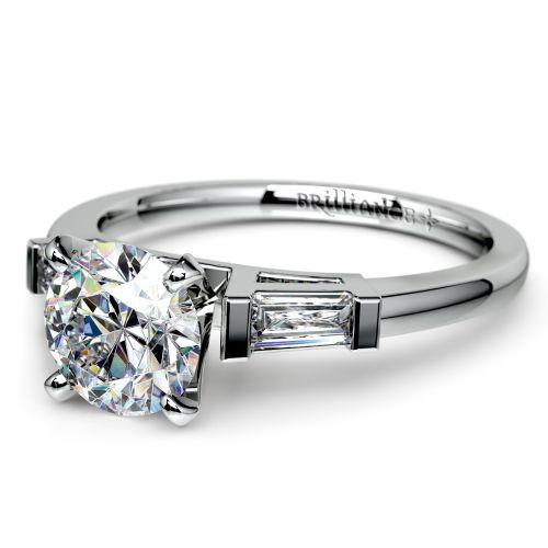 Baguette Diamond Engagement Ring in Platinum (1/3 ctw) | Image 04