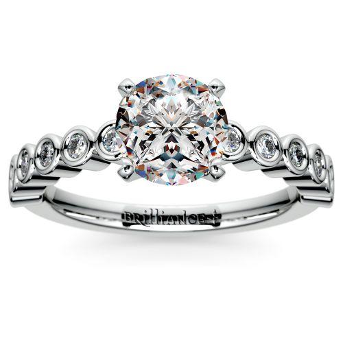 Bezel Diamond Engagement Ring in Palladium (1/4 ctw) | Image 01