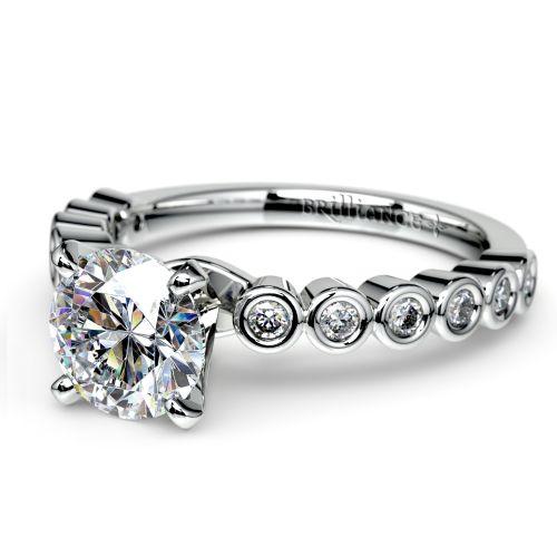 Bezel Diamond Engagement Ring in Palladium (1/4 ctw) | Image 04