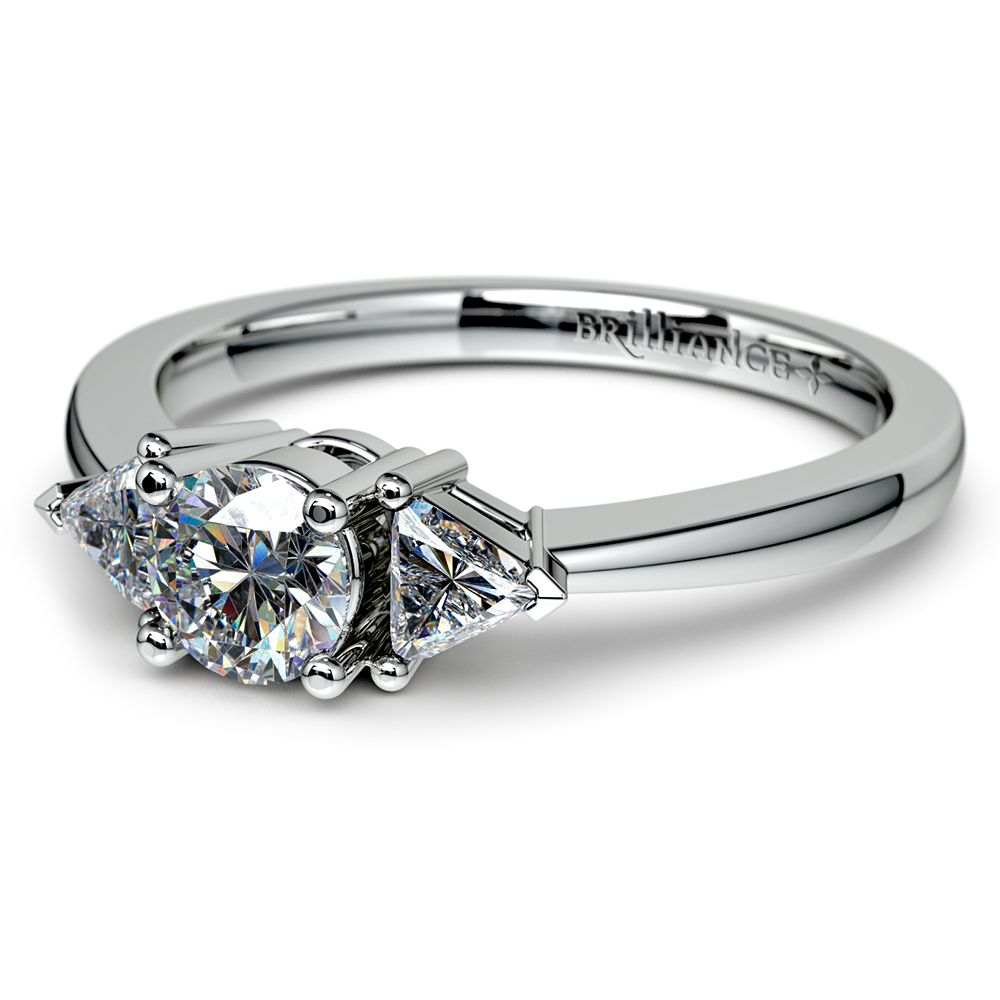 Trillion Diamond Engagement Ring In Platinum 1 4 Ctw