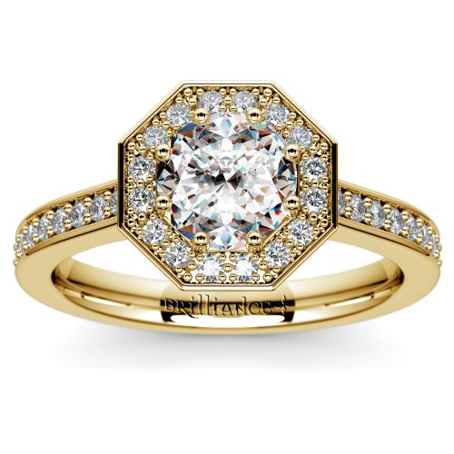 Halo Diamond Engagement Ring in Yellow Gold (3/8 ctw) | Image 01