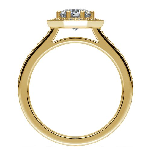 Halo Diamond Engagement Ring in Yellow Gold (3/8 ctw) | Image 02