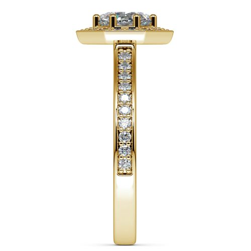 Halo Diamond Engagement Ring in Yellow Gold (3/8 ctw) | Image 03