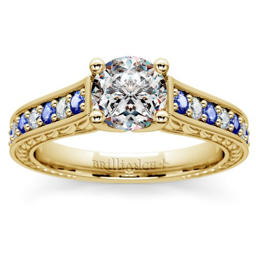 Antique Diamond & Sapphire Gemstone Engagement Ring in Yellow Gold