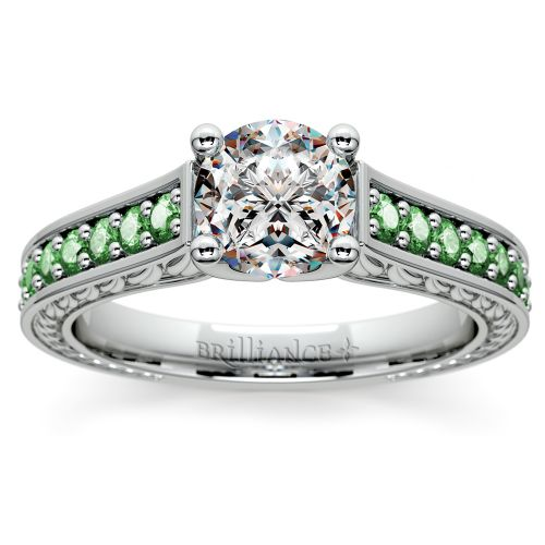 Antique Emerald Gemstone Engagement Ring in Platinum