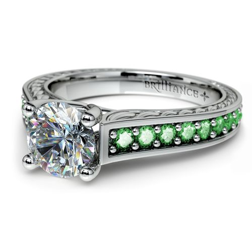 antique emerald gemstone engagement ring in white gold