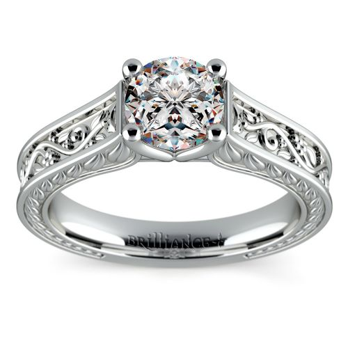 Antique Floral Solitaire Engagement Ring in Platinum | Image 01