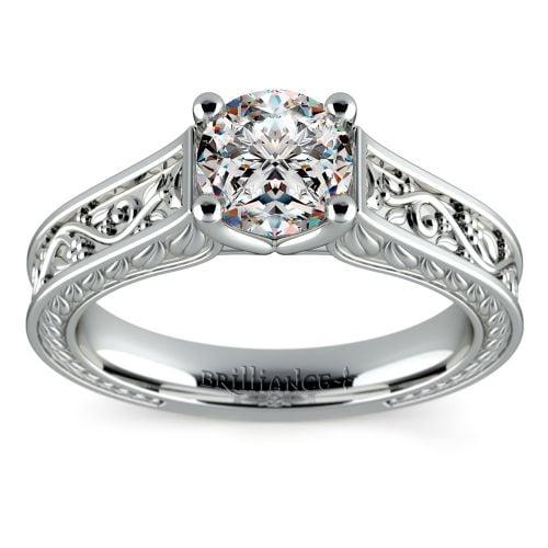 Antique Floral Solitaire Engagement Ring in Platinum | Image 01