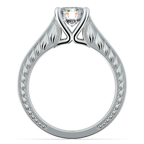 Antique Floral Solitaire Engagement Ring in Platinum | Image 02