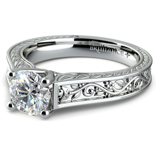 Antique Floral Solitaire Engagement Ring in Platinum | Image 04