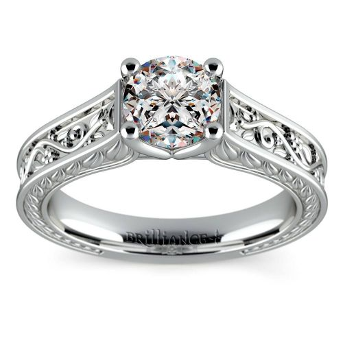 Antique Floral Solitaire Engagement Ring in White Gold   Brilliance.com Top Ten Engagement Rings #5
