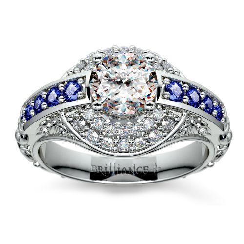 Antique Style 4 2mm Platinum Men S Wedding Band With: Antique Halo Diamond & Sapphire Engagement Ring In Platinum