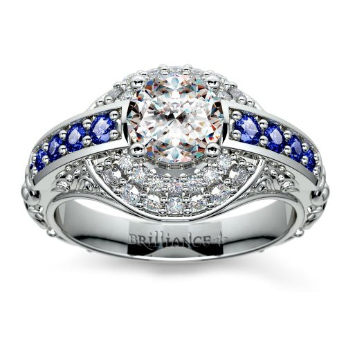 Antique Halo Diamond & Sapphire Engagement Ring in White Gold