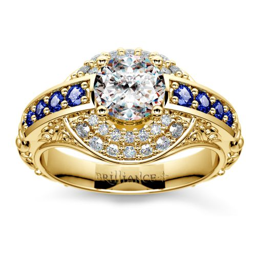 Antique Halo Diamond & Sapphire Engagement Ring in Yellow Gold