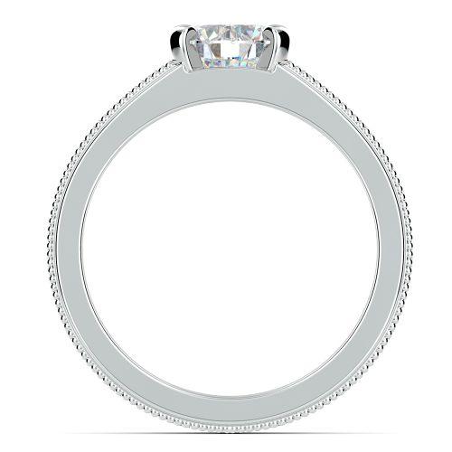 antique milgrain solitaire engagement ring in white gold