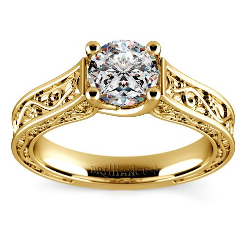 Antique Solitaire Engagement Ring in Yellow Gold | Image 01